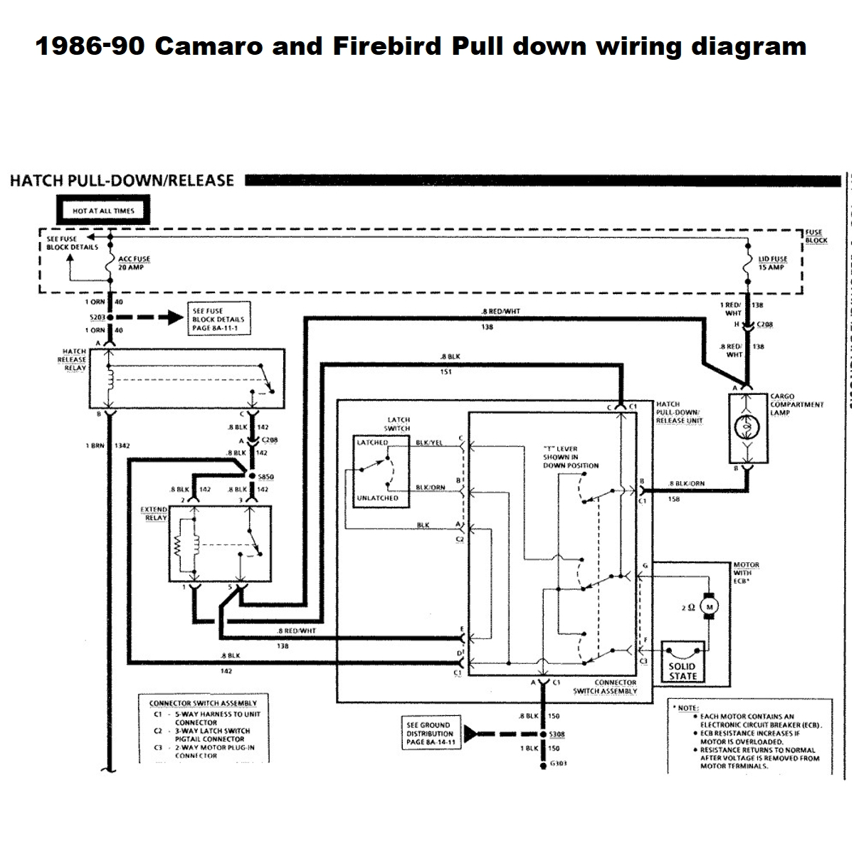 1986-92 Camaro and Firebird Pull down trouble shooting tips. Wiring diagram  - WestCoast AutoParts.comWestCoast AutoParts.com
